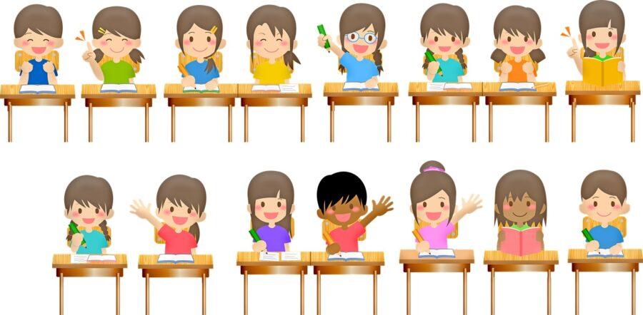 dziecki w szkolnej ławce nastolatek
